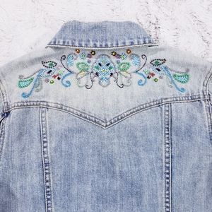 Like New Old Navy Distressed Beaded Jean jacket
